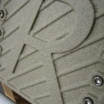 Brake pedal closeup showing textured paint